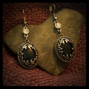 Antique Silver and Black stone Earrings